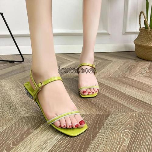 Simple Line-shaped Open-toed Sandals Women's Summer Fashion Students' Chunky Heeled Fashion Sandals