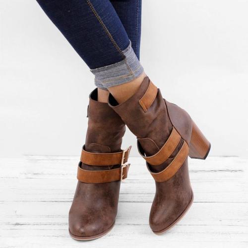 Women Chunky Heel Buckle Ankle Boots
