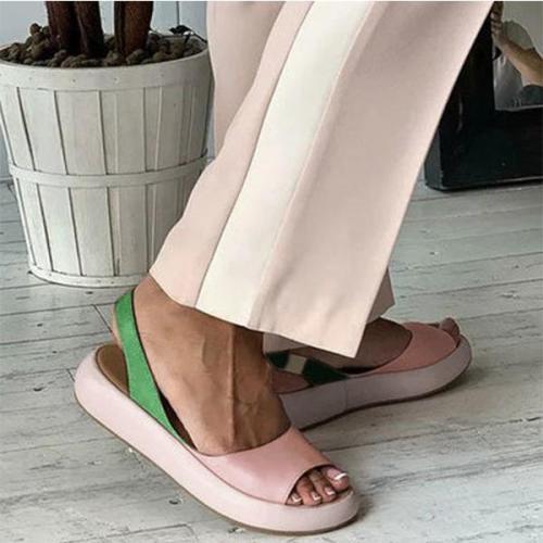 Chic Color Block Peep Toe Flat Mule Sandals