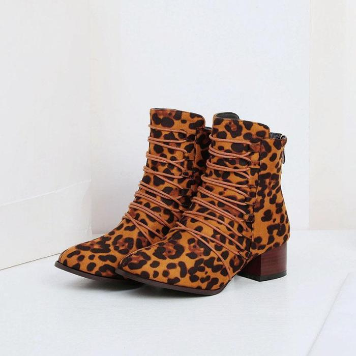 Women Chic Crisscrossed Front Med Chunky Heel Flocking Boots