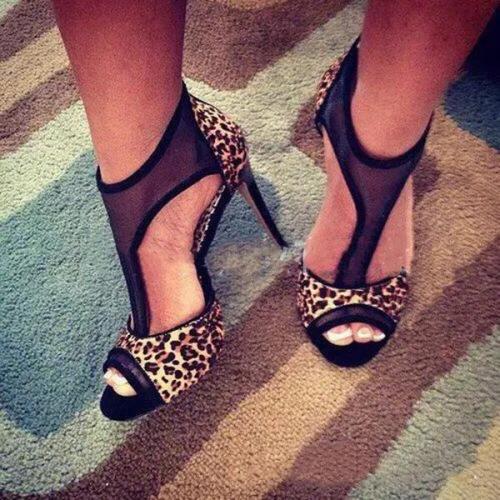 Peep Toe Stiletto Heel Mesh Zipper High-Cut Upper Casual Thin Shoes