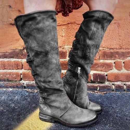 Elegant Round Toe Slip on Knee High Boots