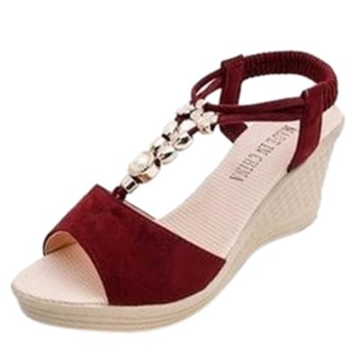 Women's Shoes With Platform Women Snadals Ladies Fashion Wedges Roman Canvas Solid High Shoes