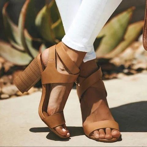 Plain Crisscross Ankle High Chunky Heels Sandals