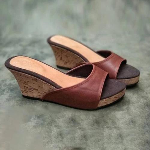 Plain Peep Toe Casual Slippers