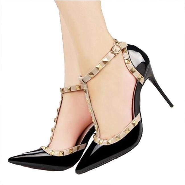 fashion female sandals rivet Metal decoration pu leather women high heels