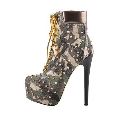 Green Camouflage Canvas Round Toe Gold Rivet Lace-up Ankle Boots