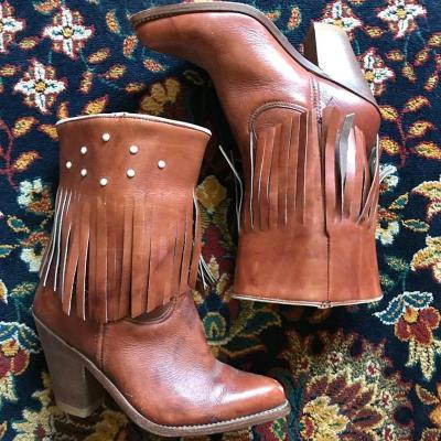 Vintage Pu Fringed High Chunky Mid-Calf Boots
