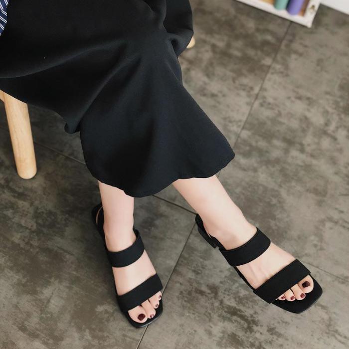 Middle Heel Platform Thick Heel Slippers Women's One Word Belt Shoes