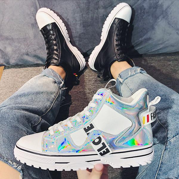 Fashion Platform High Top Skateboard Shoes Lace-up Flats