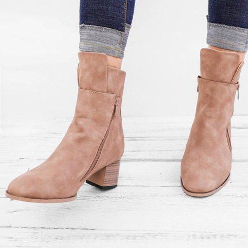 Women Vintage Ankle Boots Low Heel Zipper Shoes