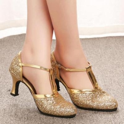 Gold Silver High Heels Thick Heel T-strap Pumps Latin Dance Wedding Party Shoes