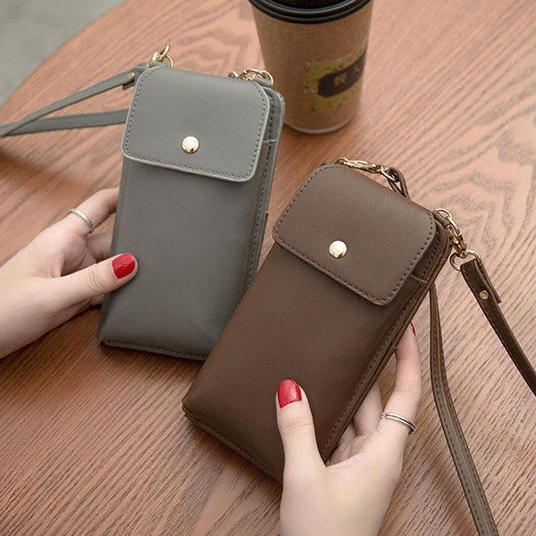 Pure Color Crossbody Bag PU Leather 5.5inch Phone Bag