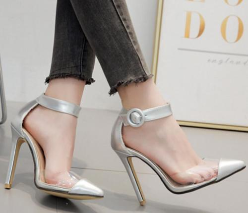 summer sandals  transparent thin high heels pumps stiletto ladies pointed toe
