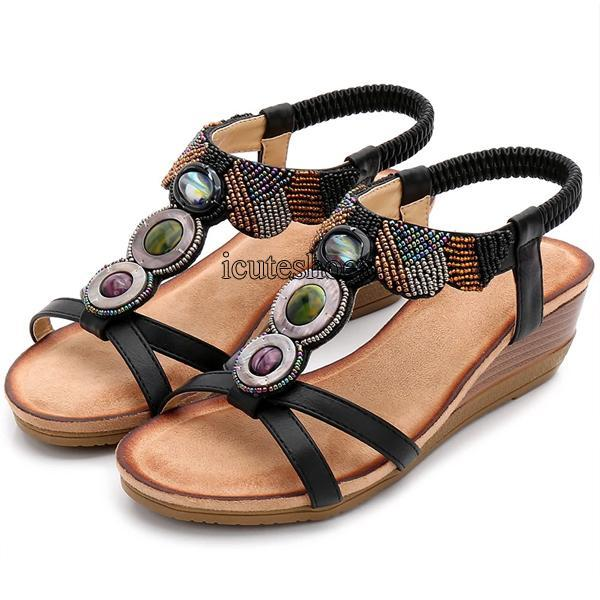 Ladies Shoes Bohemian Sandals Women Beaded Sandals Slope Women's Shoes