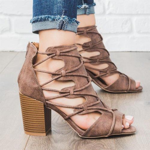 Women Dress Summer Crisscross Lace-Up High Chunky Sandals