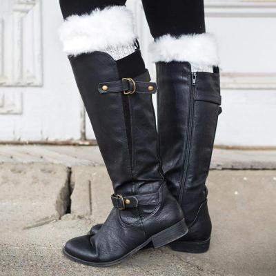 Buckle Decorated Black Low-heel Boots