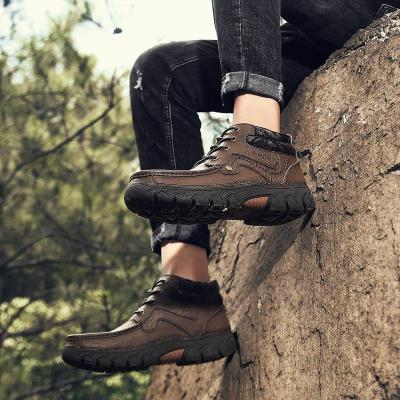 Men's Large Size Fashion High Top Lace-up Hiking Shoes Casual Antiskid Climbing Shoes