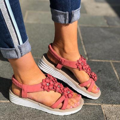 Women Casual Summer Flower Trim Wedge Sandals