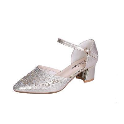 Summer New Women's Shoes Small Round Head Chunky Heel Buckle Women's Heel Single Shoes