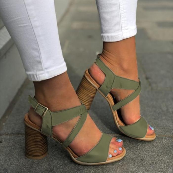 Summer Vintage Crisscross Lace-Up Color Block Medium Heels Sandals