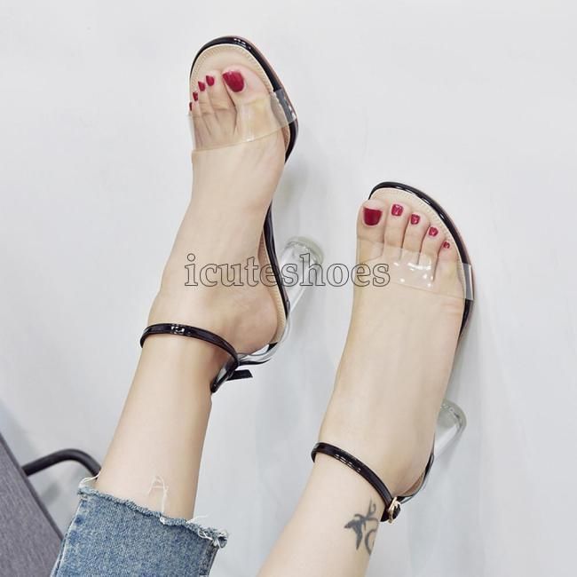 Fashion Shoes Woman Summer Transparent Sandals Ankle High Heels Block Party Open Toe