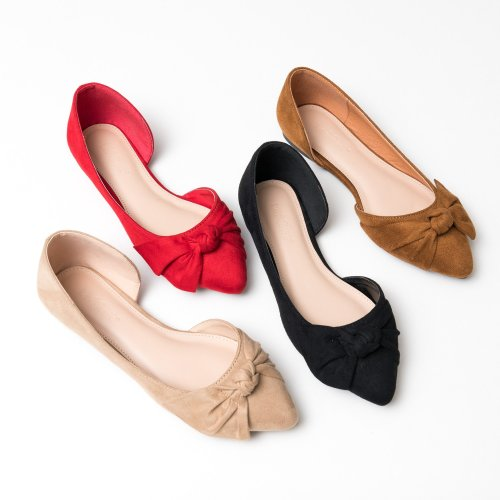 Knotted Pointy Toe Ballet Flats - Black