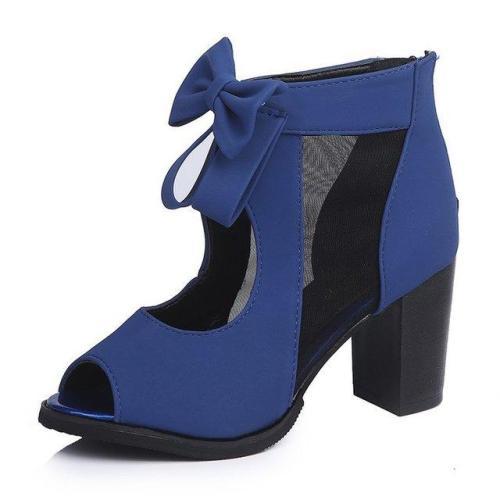 Peep Toe Bowknot High Chunky Heels Roman Sandals