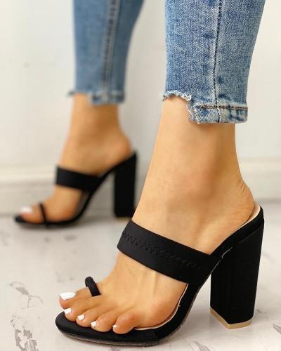 Toe Ring Single Strap Chunky Heeled Sandals