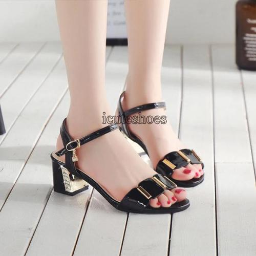 Fashion Rhinestone Sandals Large Size Women's Sandals Thick Heel Metal Decorative Buckle Women's Shoes