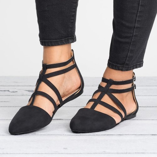 Strappy Faux Suede Black Flats
