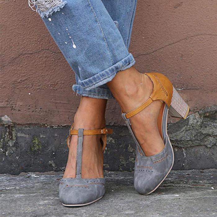 Color Block T-Bar High Heels Sandals