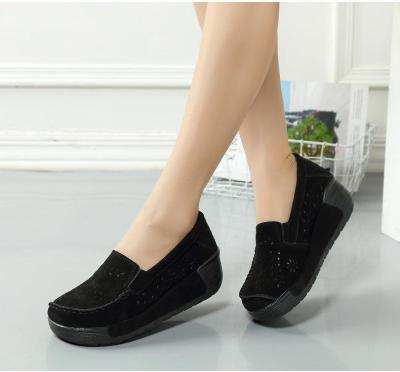 Women Faux Suede Slip-on Loafers Hollow-out Casual Platform Shoes