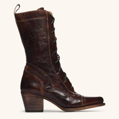 Women  Lace-up Low Heel Boots Vintage Comfort Boots