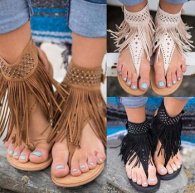 Tassel Decoration Flat Heel Women's Sandals