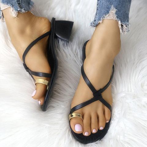PU Chunky Heel Slip-On Flip Flop Sandals