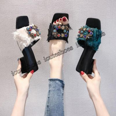 Slippers Women's Fashion Summer New Rhinestone Middle Heel Chunky Heel High Heel