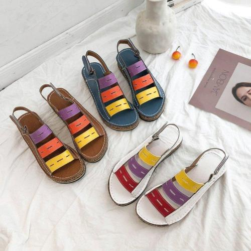 Color Block Hollow Hook&Loop Casual Wedges Sandals