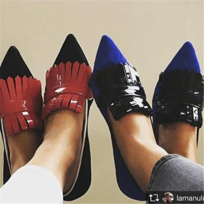 Chic Artificial Pu&Suede Color Block Fringe Slip-On Point Toe Loafers