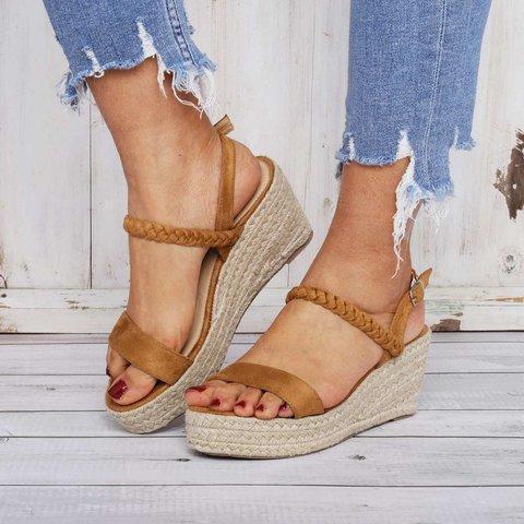 Women's PU Peep Toe Adjustable Buckle Wedge High Heel Sandals