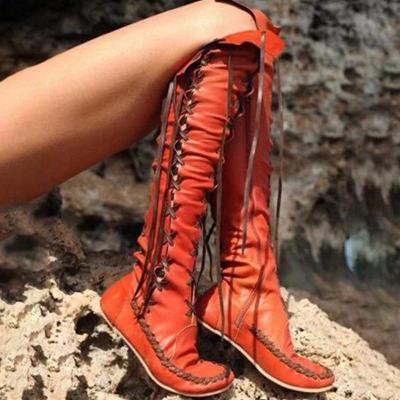 Chic Stylish Knee High Solid Lace-up Boots