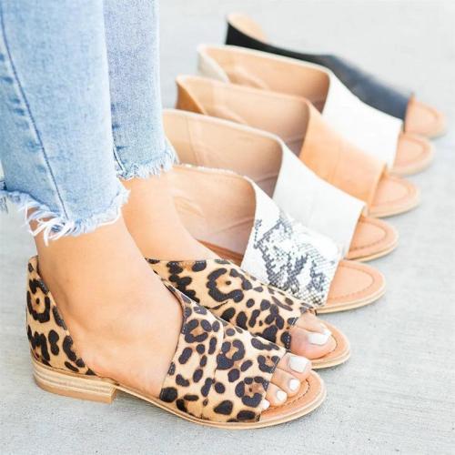 Peep Toe Side-cut Style Stacked Heel Sandals