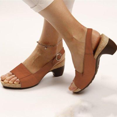 Women Elegant Low Chunky Heel Comfy Sandals