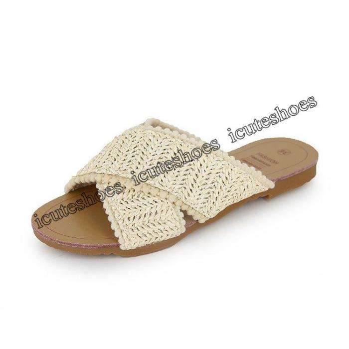 Sandals women summer new flat hollow woven slippers