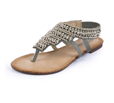 Beaded metal sandals women's summer vintage ethnic style beaded sandals