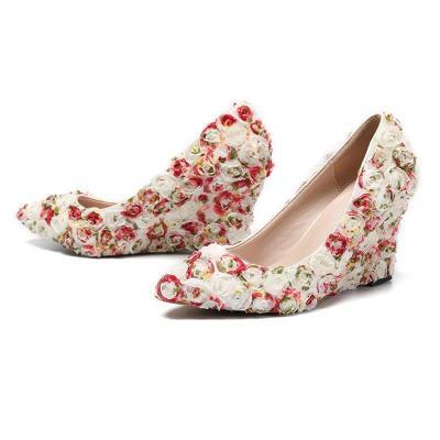 Wedge Heel Flower Wedding Evening Heels
