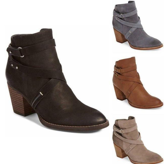 Womens PU Chunky Heel Zipper Boots