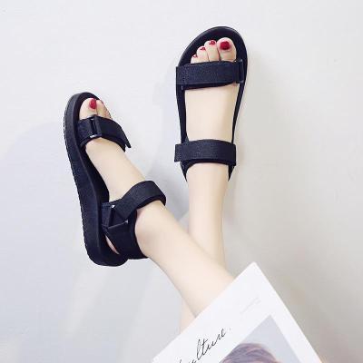 2020 Summer New Round Head Flat Sole Solid Color Versatile Women's Sandals Beach Shoes