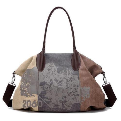 Pattern Casual Canvas Handbag Bucket Crossbody Bag