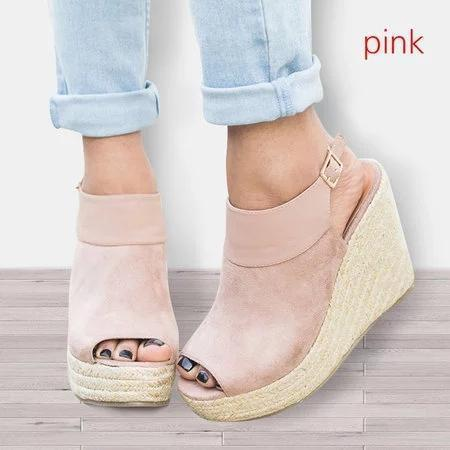 Women Peep Toe Adjustable Buckle Strap Espadrille Wedges Sandals